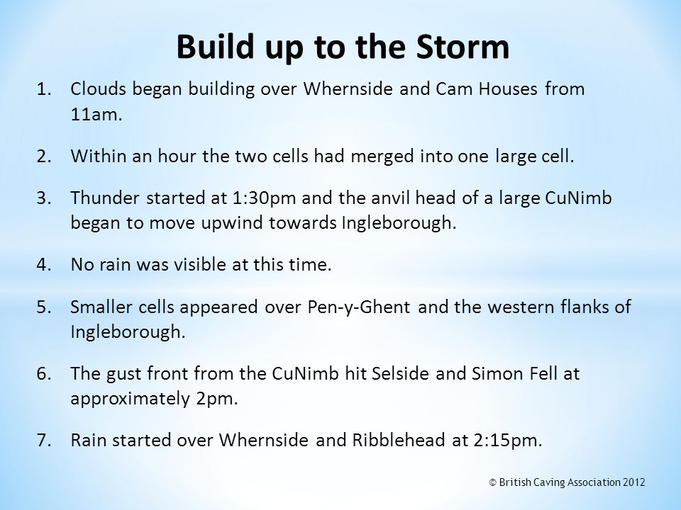 Build up to the Storm Clouds began building over Whernside and Cam Houses from 11am. Within an hour the two cells had merged into one large cell.
