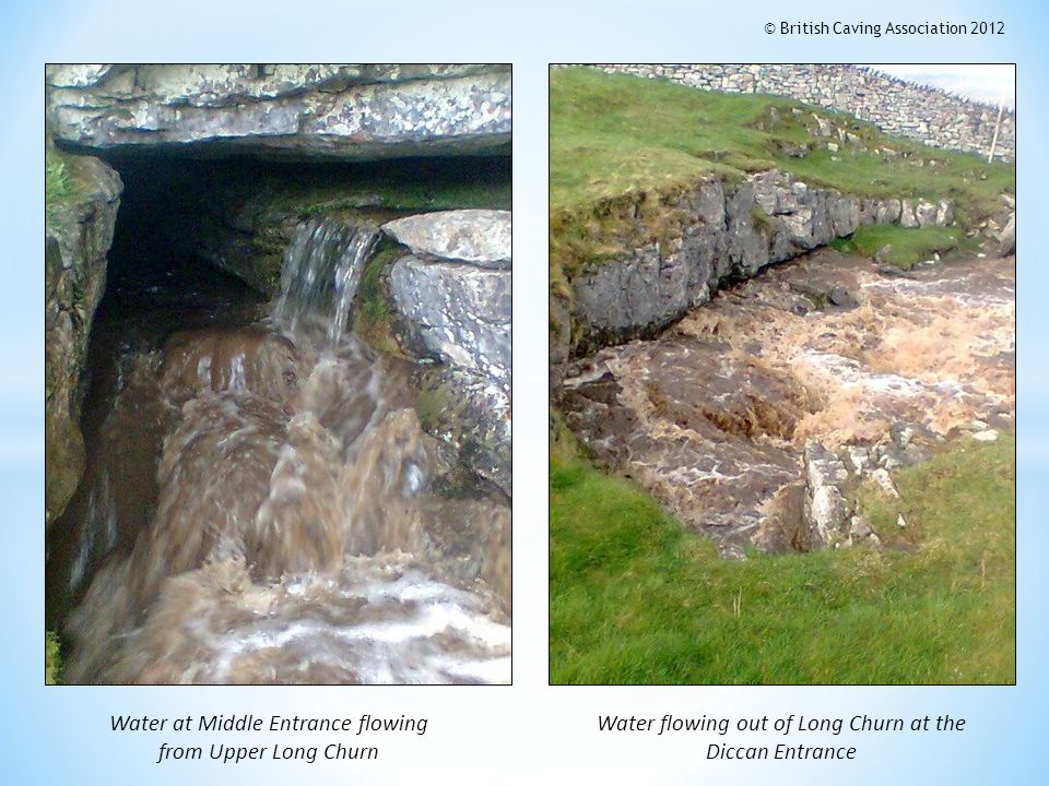 Water at Middle Entrance flowing from Upper Long Churn