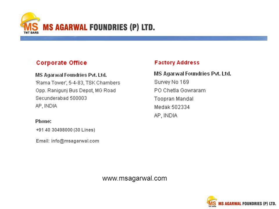 www.msagarwal.com +91 40 30498000 (30 Lines)