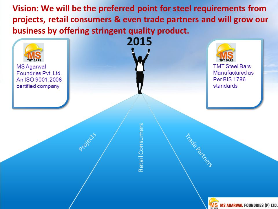 Vision: We will be the preferred point for steel requirements from projects, retail consumers & even trade partners and will grow our business by offering stringent quality product.