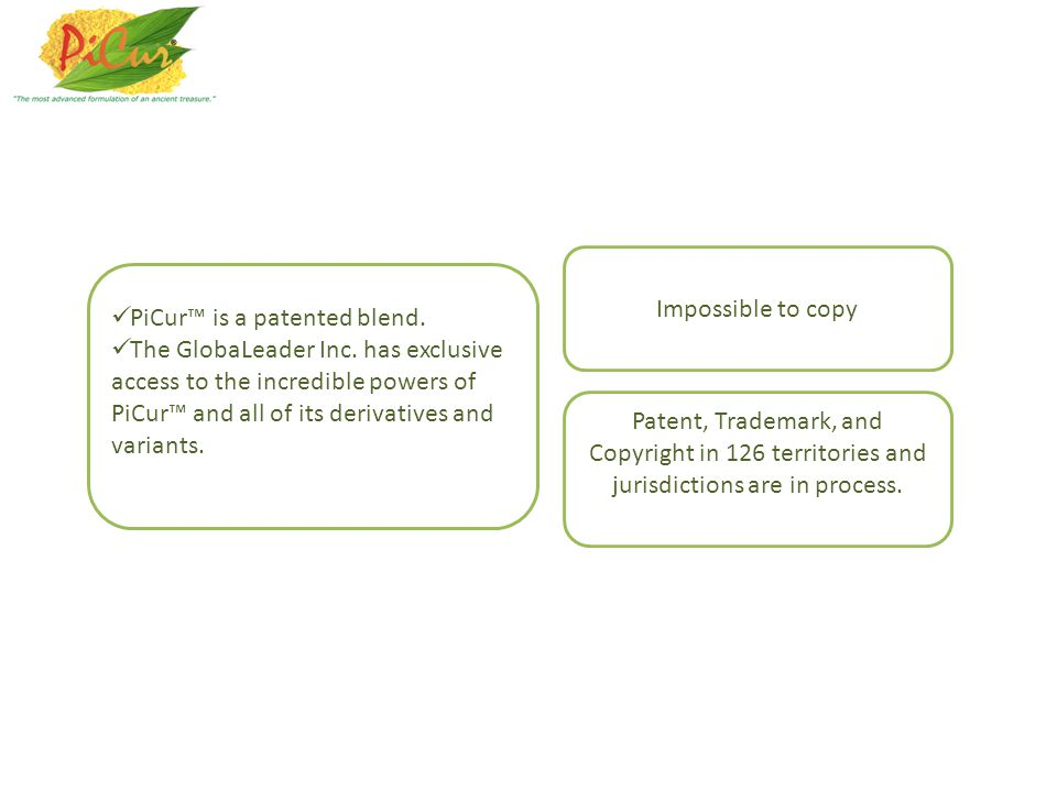 Impossible to copy PiCur™ is a patented blend.