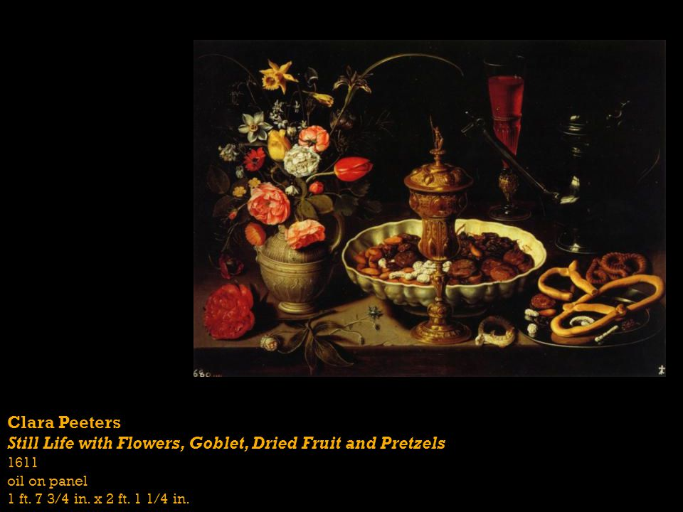 Still Life with Flowers, Goblet, Dried Fruit and Pretzels