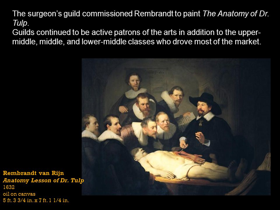 The surgeon's guild commissioned Rembrandt to paint The Anatomy of Dr