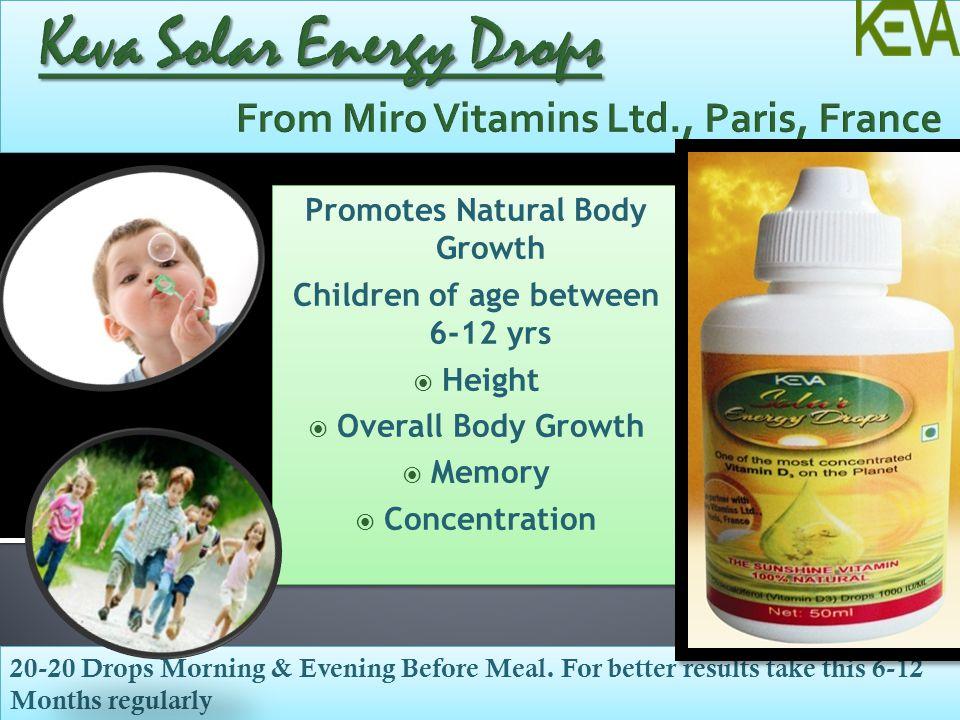 Keva Solar Energy Drops From Miro Vitamins Ltd., Paris, France
