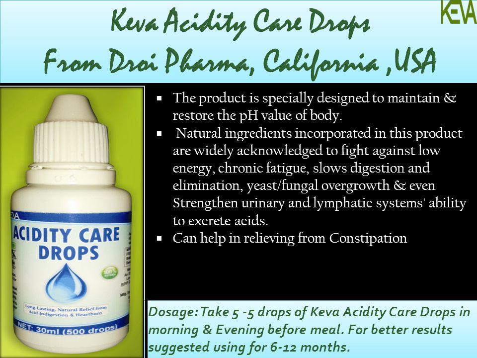 Keva Acidity Care Drops From Droi Pharma, California ,USA