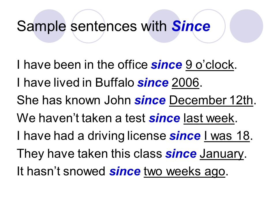 Sample sentences with Since