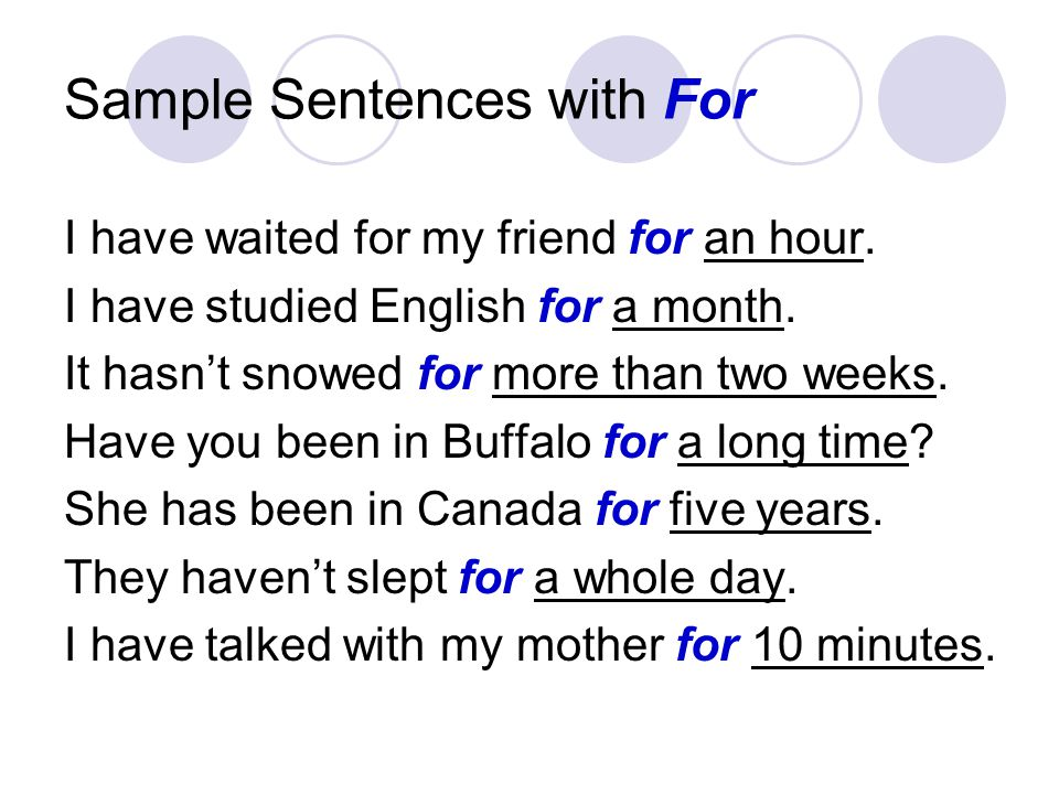 Sample Sentences with For