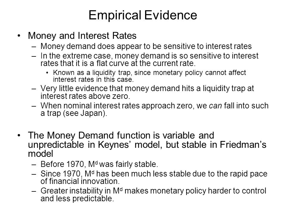 Empirical Evidence Money and Interest Rates