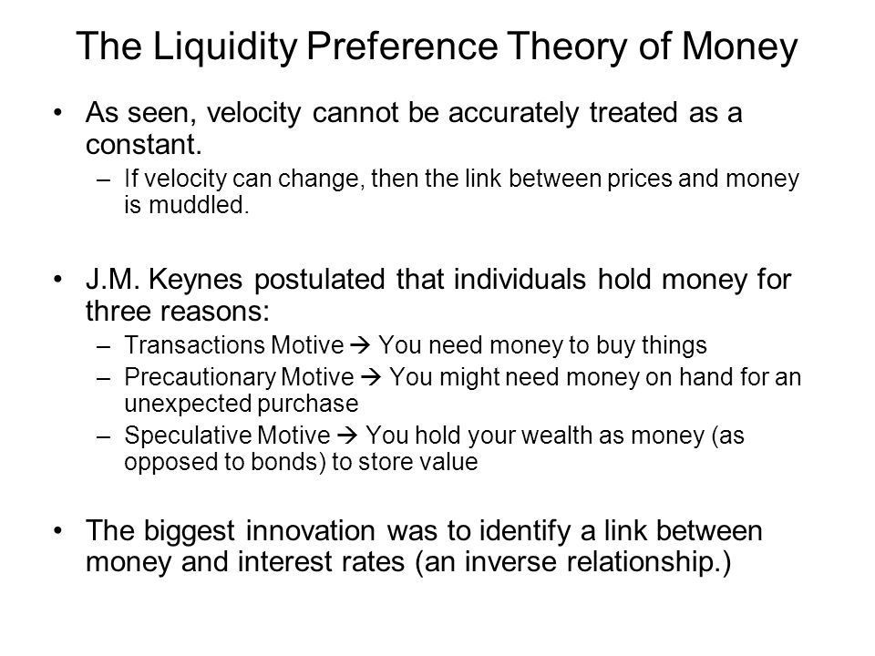 The Liquidity Preference Theory of Money