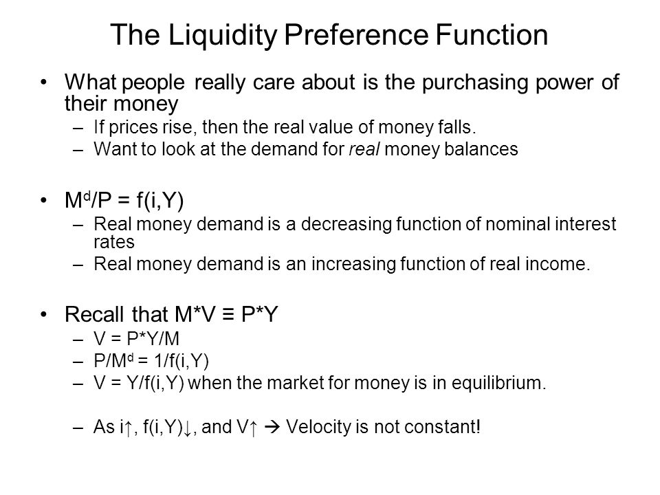 The Liquidity Preference Function