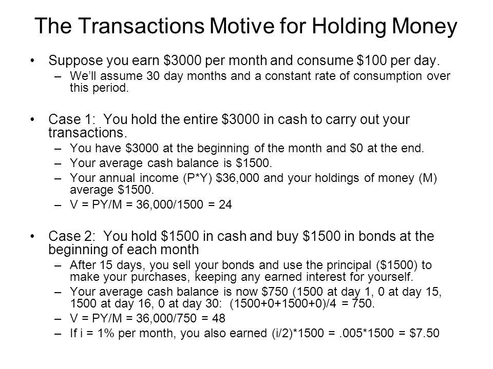 The Transactions Motive for Holding Money