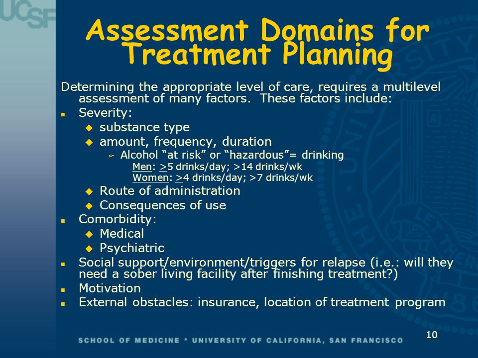 Assessment Domains for Treatment Planning