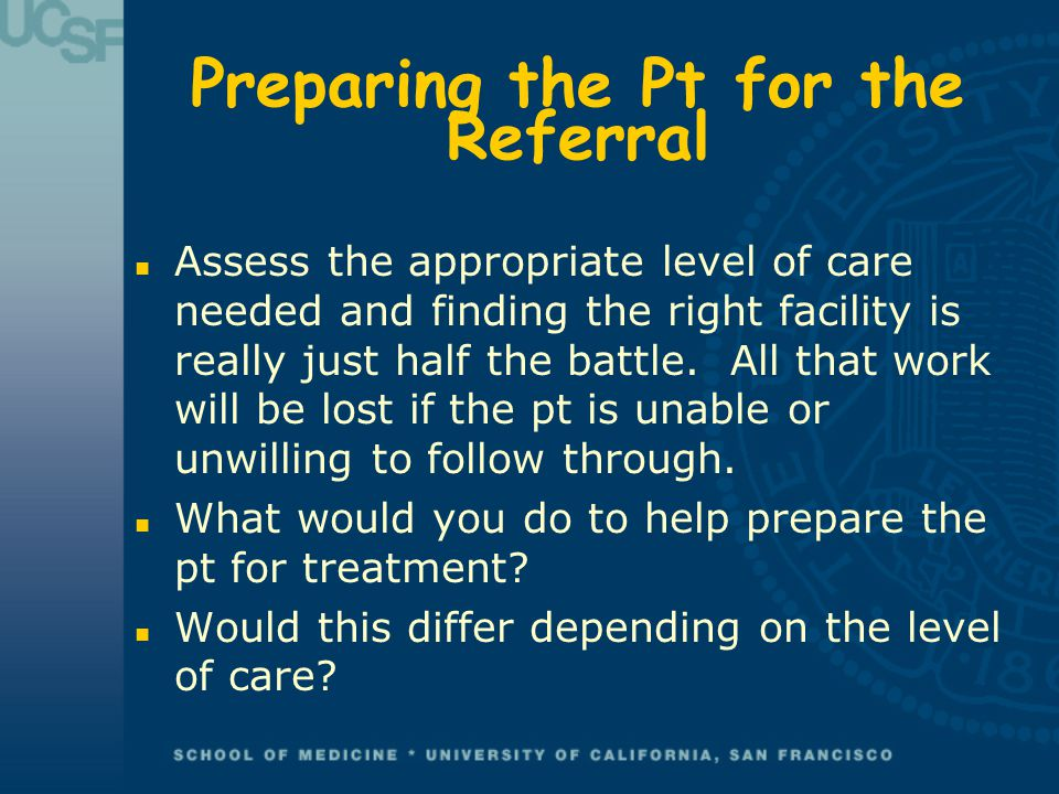 Preparing the Pt for the Referral