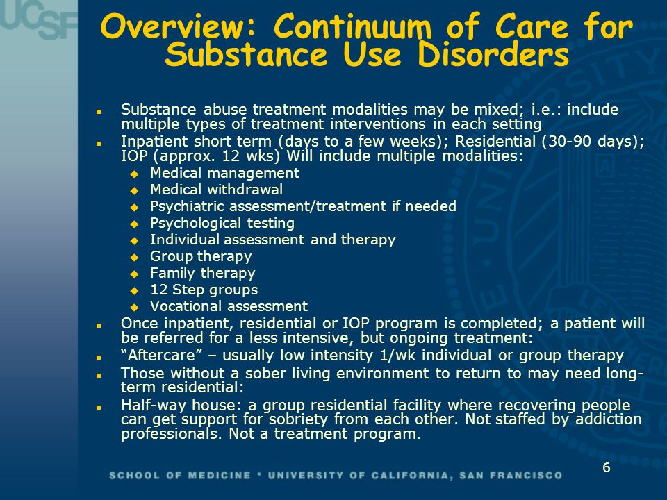 Overview: Continuum of Care for Substance Use Disorders