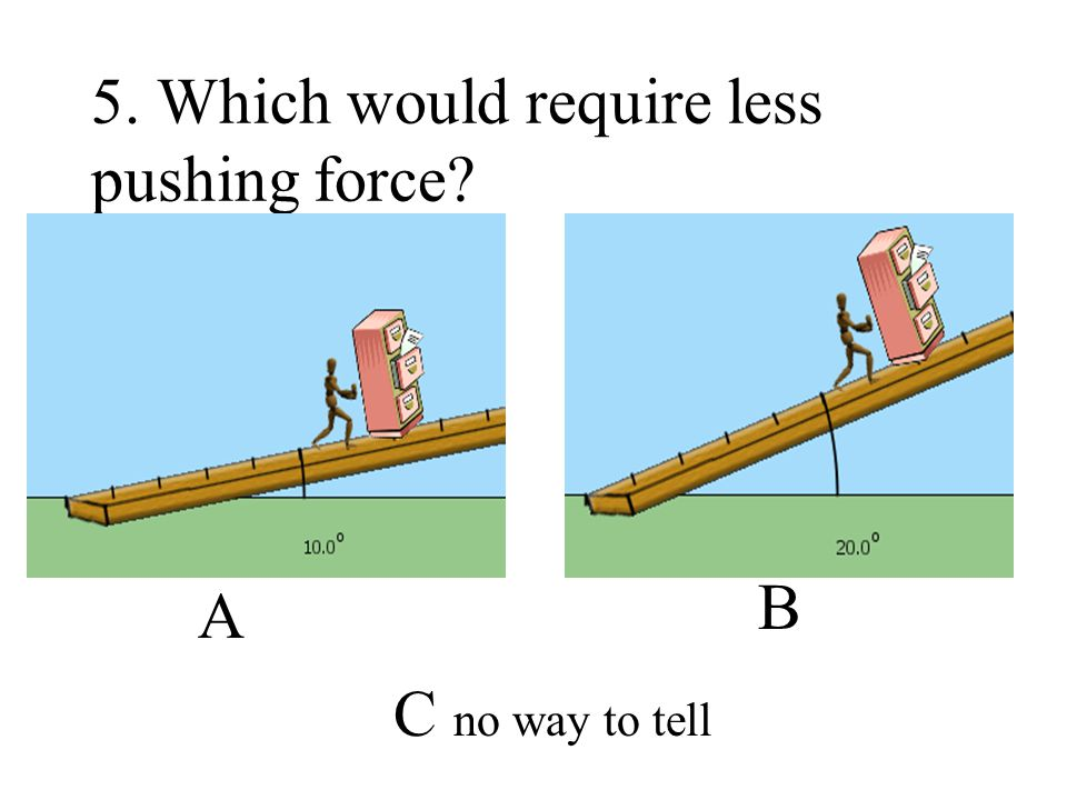 5. Which would require less pushing force
