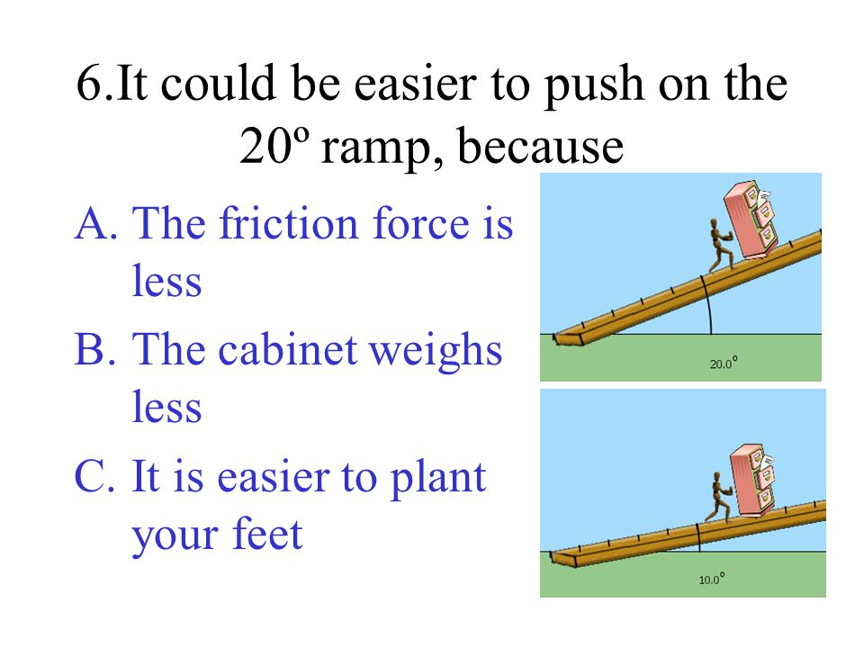 6.It could be easier to push on the 20º ramp, because