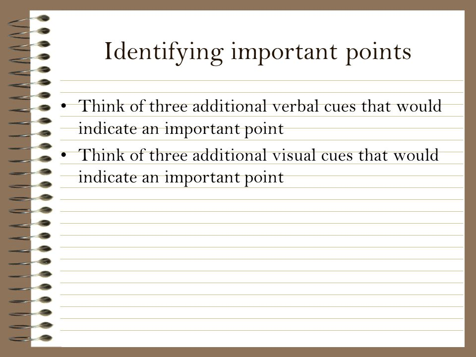 Identifying important points