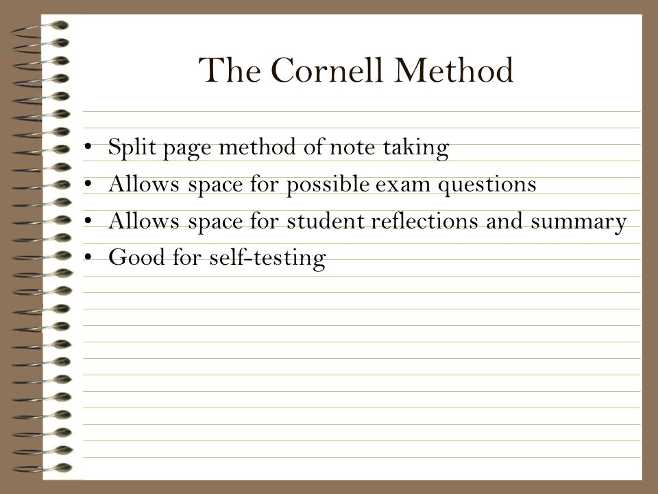 The Cornell Method Split page method of note taking