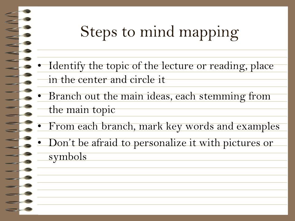 Steps to mind mapping Identify the topic of the lecture or reading, place in the center and circle it.