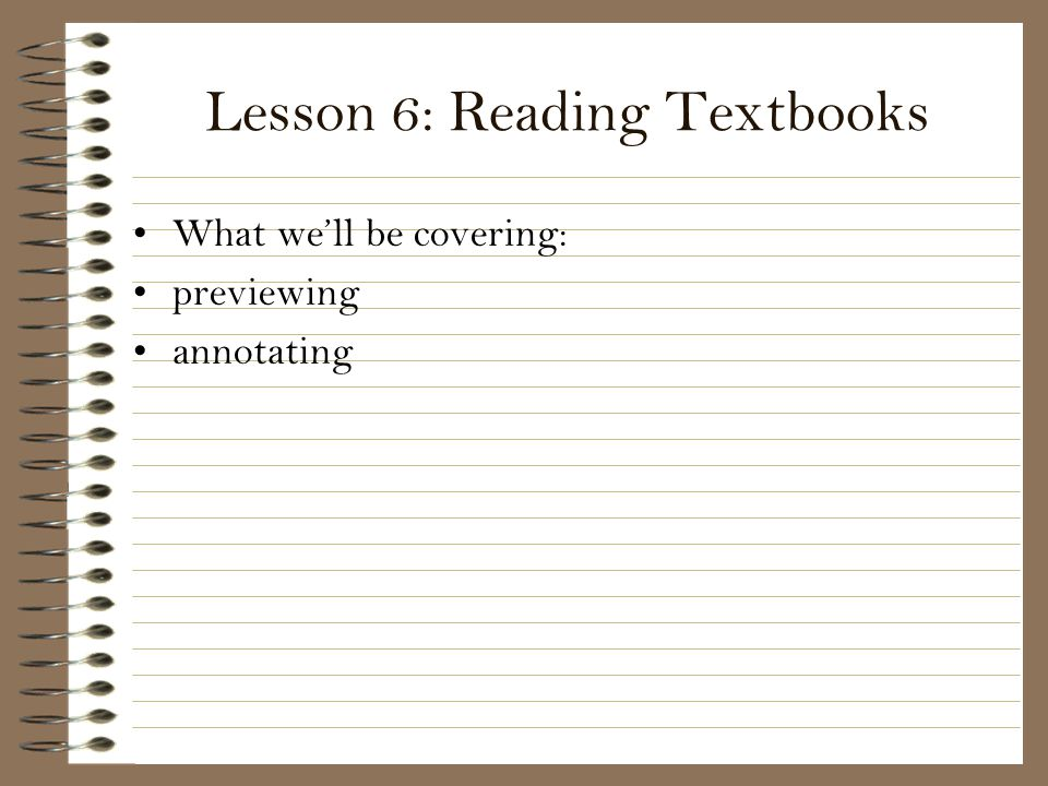 Lesson 6: Reading Textbooks