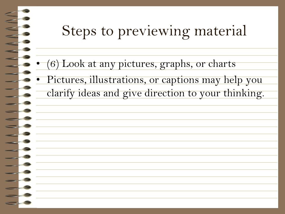 Steps to previewing material