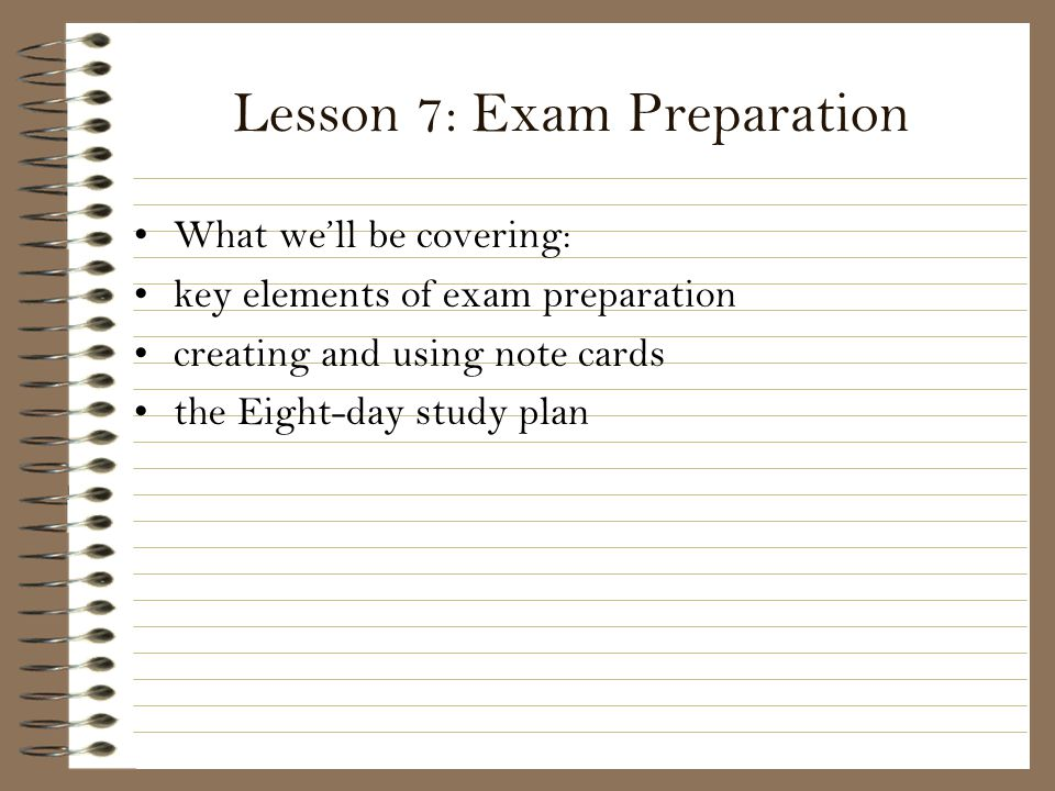 Lesson 7: Exam Preparation
