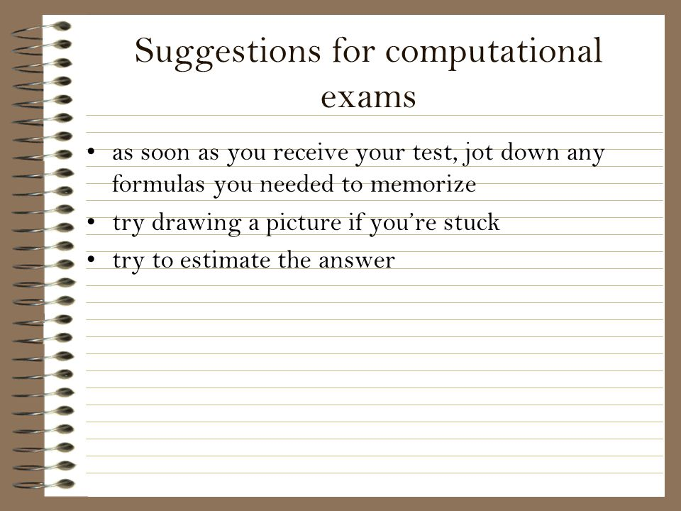 Suggestions for computational exams