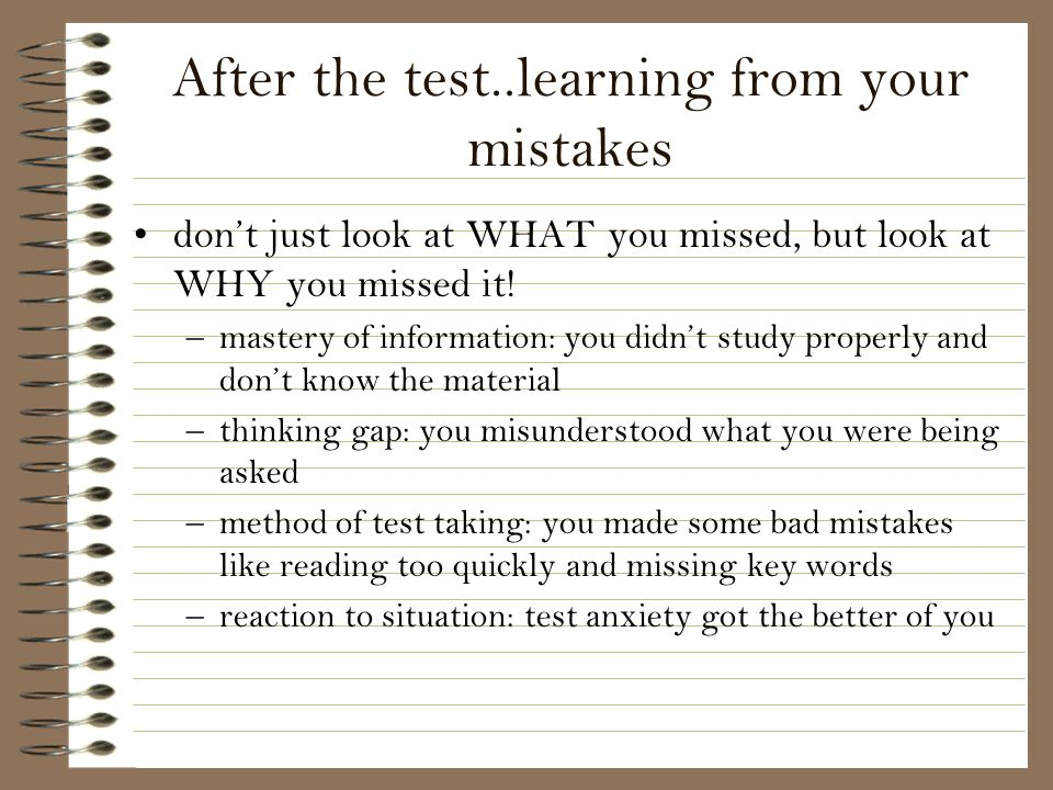 After the test..learning from your mistakes