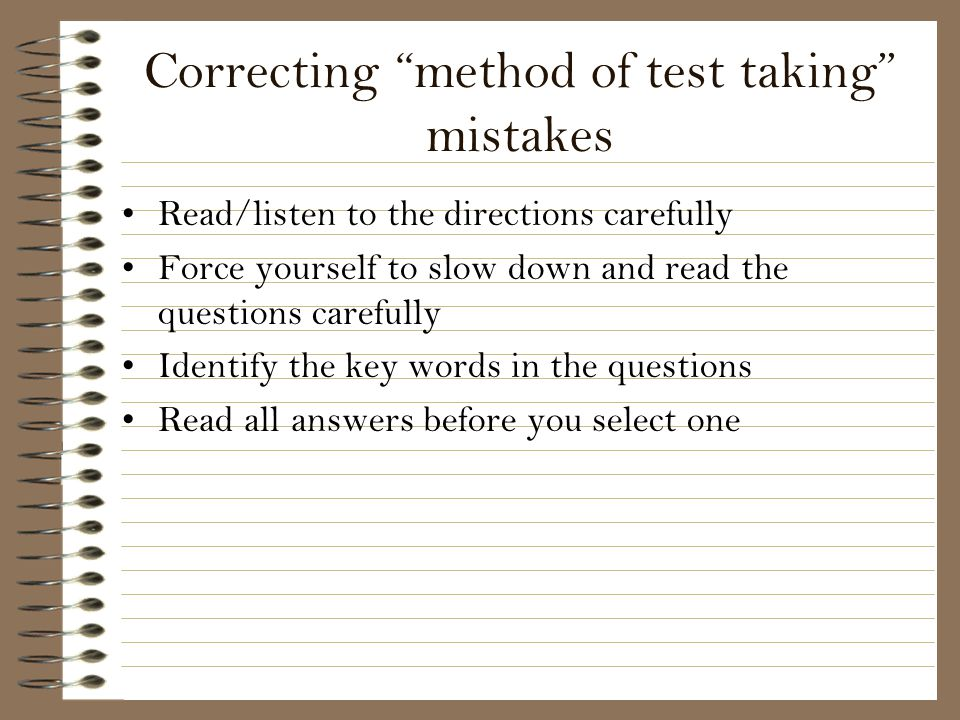 Correcting method of test taking mistakes