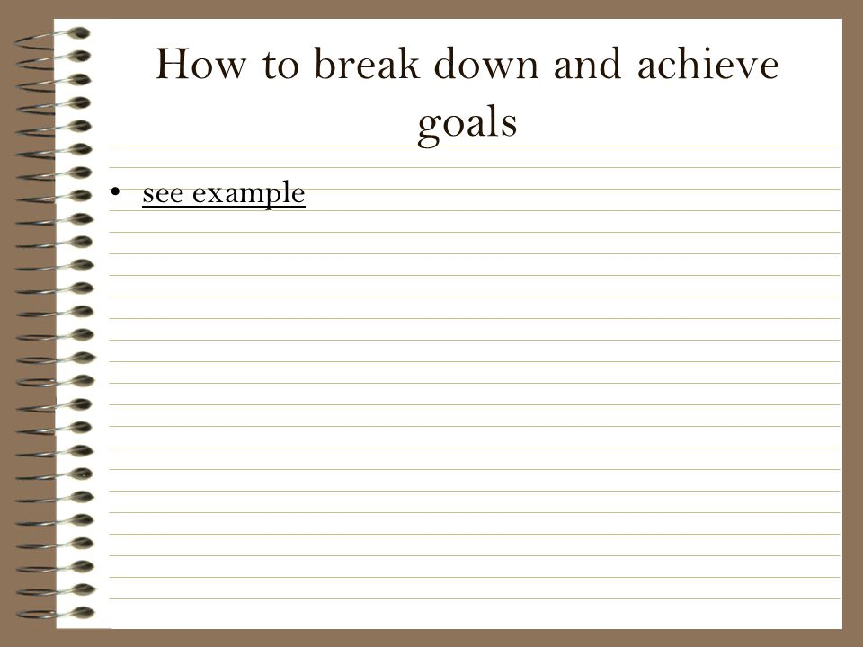 How to break down and achieve goals