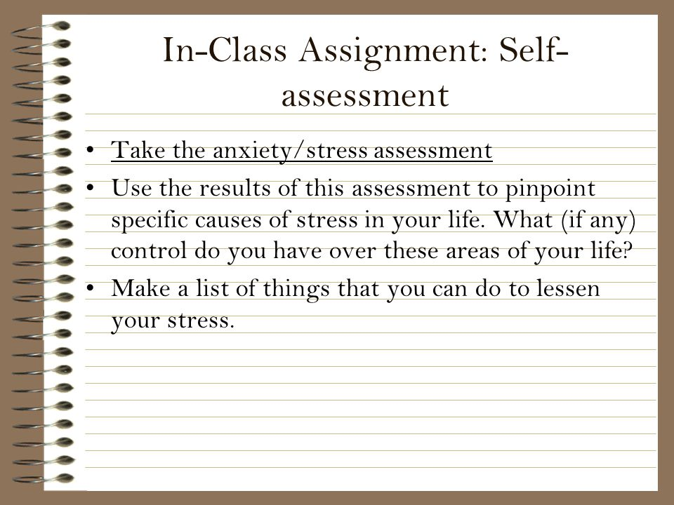 In-Class Assignment: Self-assessment