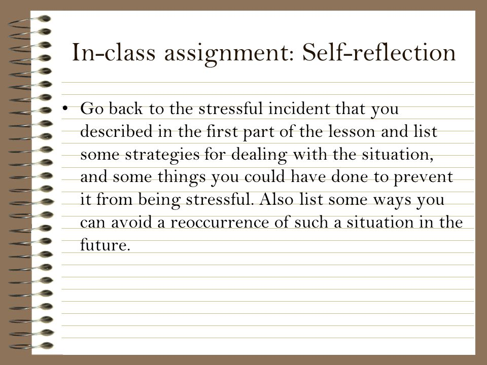 In-class assignment: Self-reflection