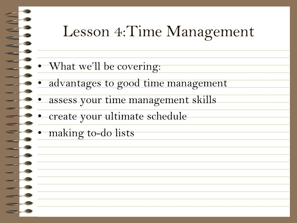 Lesson 4:Time Management