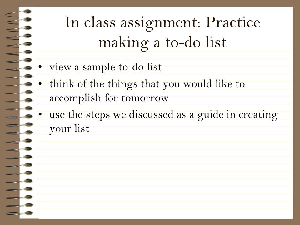 In class assignment: Practice making a to-do list