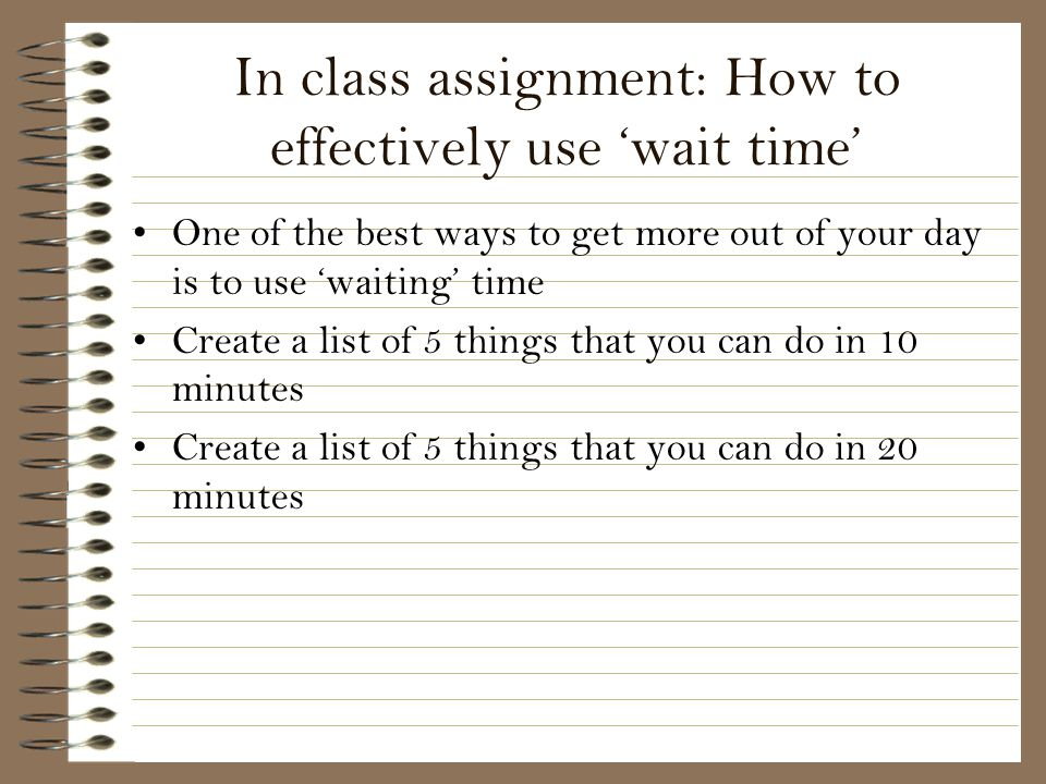 In class assignment: How to effectively use 'wait time'