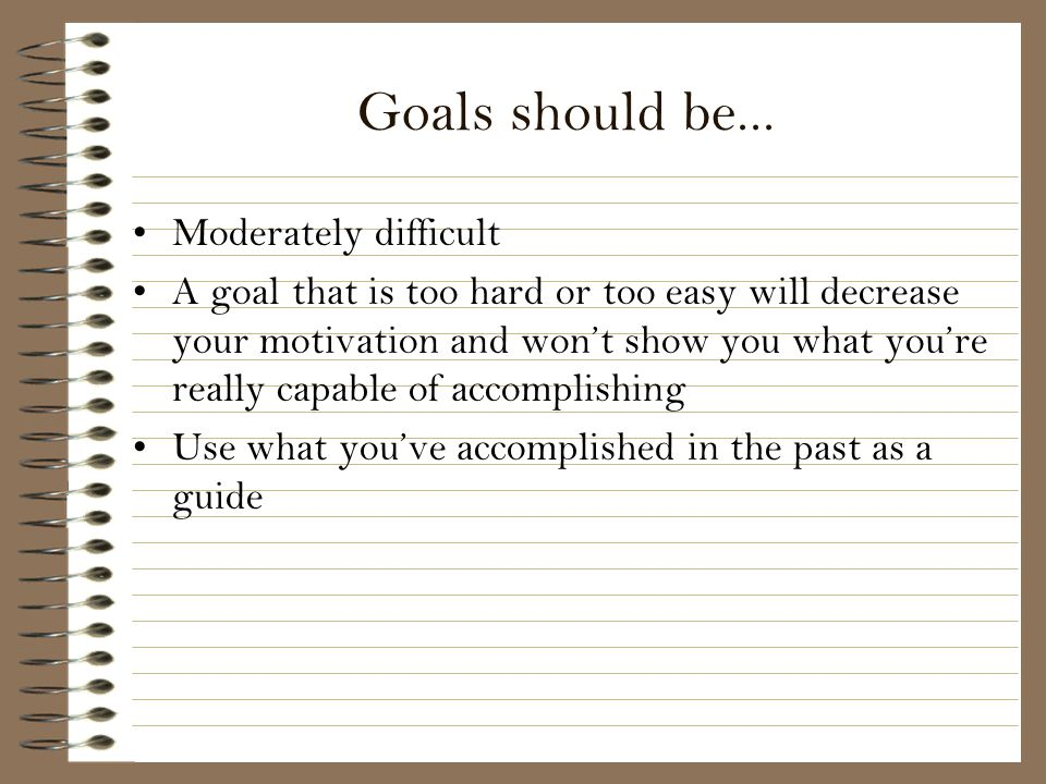 Goals should be... Moderately difficult