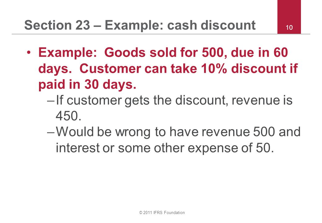 Section 23 – Example: cash discount
