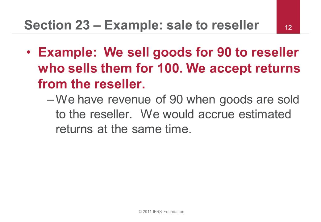 Section 23 – Example: sale to reseller