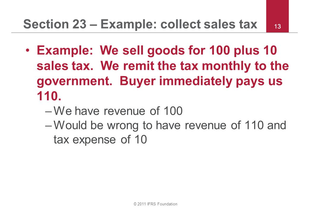 Section 23 – Example: collect sales tax