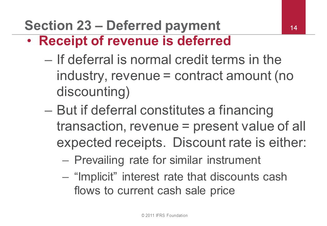 Section 23 – Deferred payment