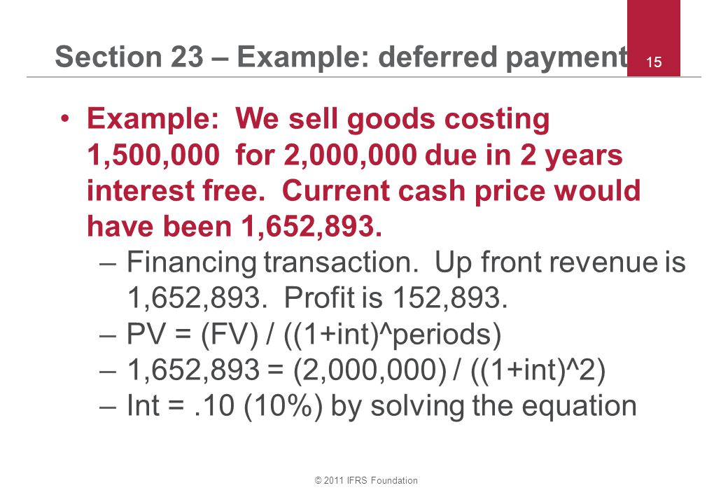 Section 23 – Example: deferred payment