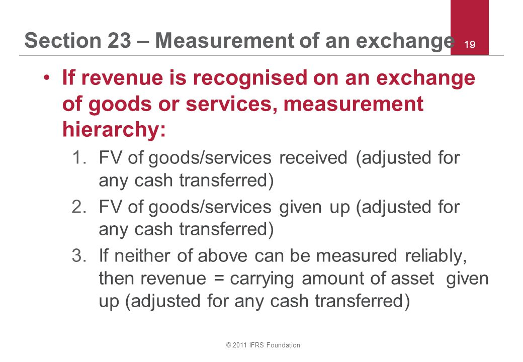 Section 23 – Measurement of an exchange