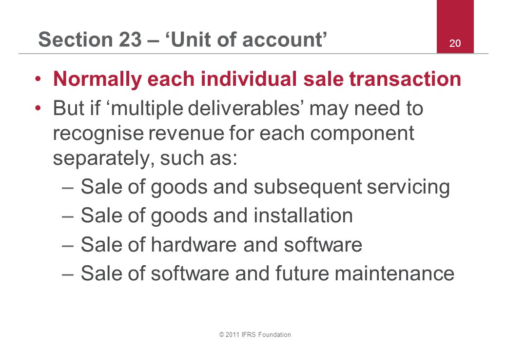 Section 23 – 'Unit of account'