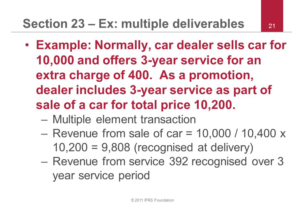 Section 23 – Ex: multiple deliverables
