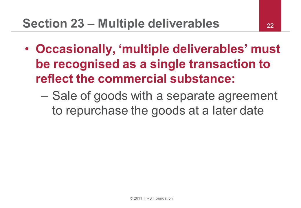 Section 23 – Multiple deliverables