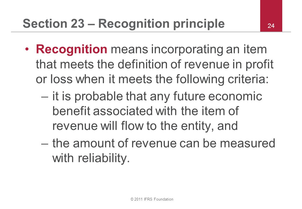 Section 23 – Recognition principle