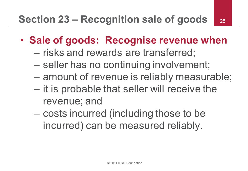 Section 23 – Recognition sale of goods