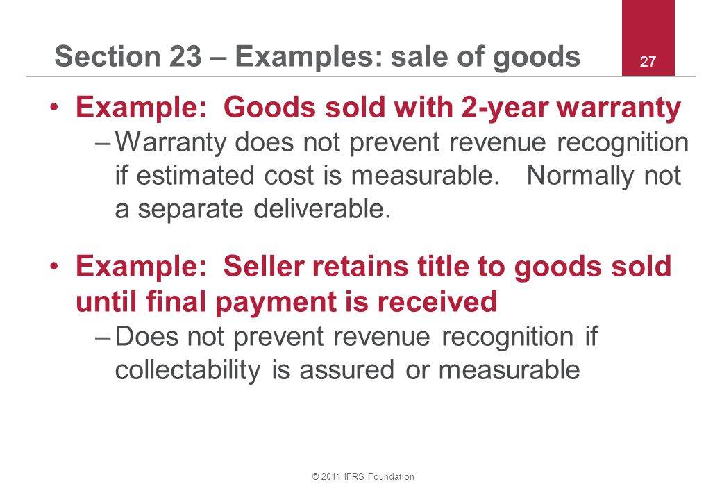 Section 23 – Examples: sale of goods
