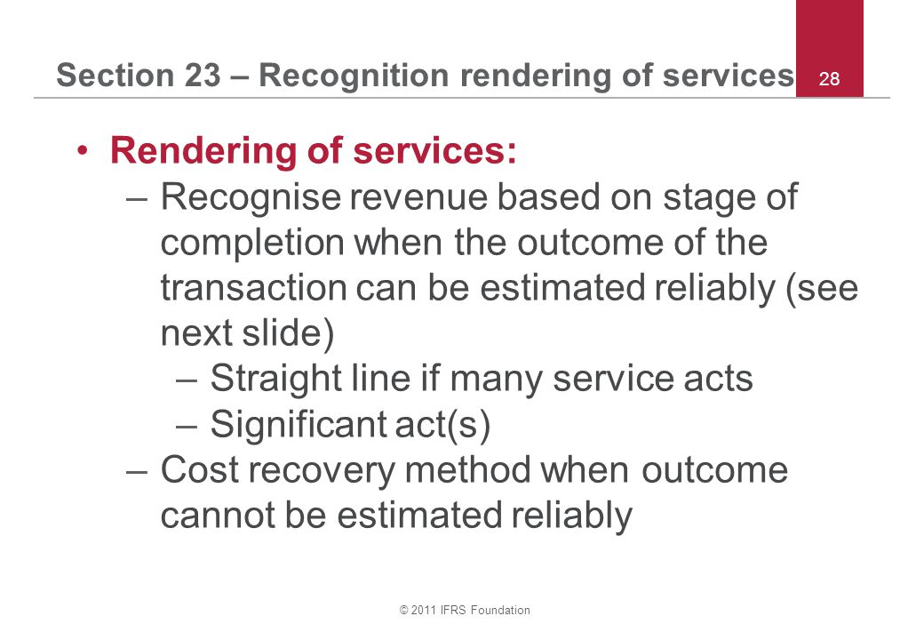 Section 23 – Recognition rendering of services