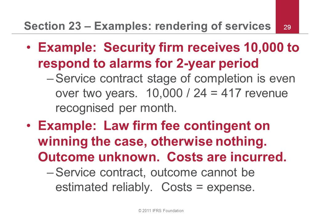 Section 23 – Examples: rendering of services